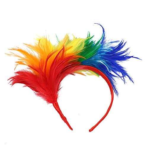 Lurrose 20er Jahre Stirnband Feder Haarreif Haarband Hochzeit Kopfbedeckung Vinatge Party Gatsby Kostüm Accessoires (bunt)