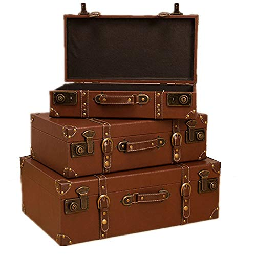 Decorative Storage Wooden Chest Trunk Antique Suitcase 3pcs Storage Box Decorative Treasure Box Wooden Vintage Photography (Color : Coffee, Size