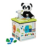 BiancoRelaxdays Pouf Contenitore, Porta Giochi per Bambini, Sgabello, Design-Animali, Poggiapiedi, 31x31x31 cm, Verde