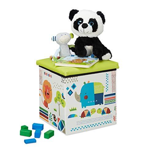Relaxdays Sitzhocker Kinder, Tier-Design, Sitzbox faltbar, mit Stauraum, Sitzwürfel, HxBxT 31 x 31 x 31 cm, grün-weiß, 1 Stück