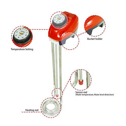 Immersion heater, Länge 57cm 3000 W Wärmer für Wasser, Eimer-Wasser-Tauchrohrheizkörper, einstellbarer Thermostat