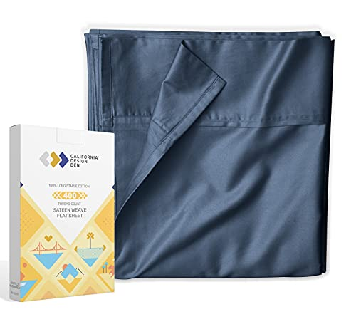 California Design Den Flat Top Sheet Only - King Size Indigo Navy Blue Color 400-Thread-Count Luxury Soft 100% Cotton Sateen Weave Bedding - Best Hotel Quality Cool Flat Sheet
