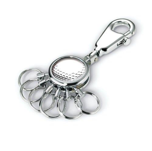 TROIKA PATENT Golf Ball SCHLÜSSELHALTER – #KYR01-A130 – rund, glänzend – Schlüsselanhänger - Karabinerhaken – 6 ausklinkbare Ringe zur Schlüsselorganisation – Golf-Design – TROIKA-Original