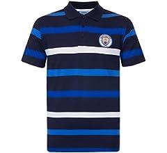 Manchester City FC - Polo oficial para hombre - A rayas - Azul ...