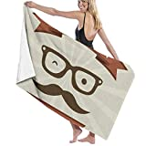 Yuanmeiju 32 X 52 Inch High Absorbency Bath Towel Father Mustache Glasses Lightweight Large Bath Sheet for Beach Home SPA Pool Gym Travel