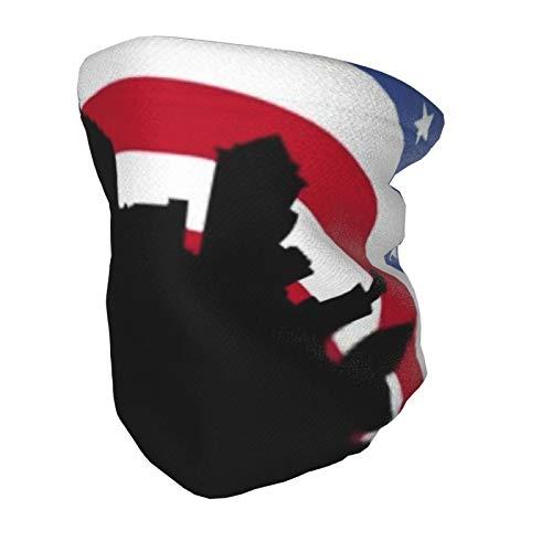 Bufanda de mascarilla para niños, horizonte circular de Filadelfia con bandera estadounidense,...