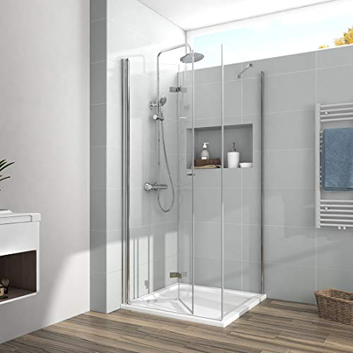 EMKE Duschkabine 90 x 75 x 185cm Eckeinstieg Falttür Dusche 180º Klappbar Duschwand Duschabtrennung mit 6mm ESG Sicherheitsglas mit Nano Beschichtung