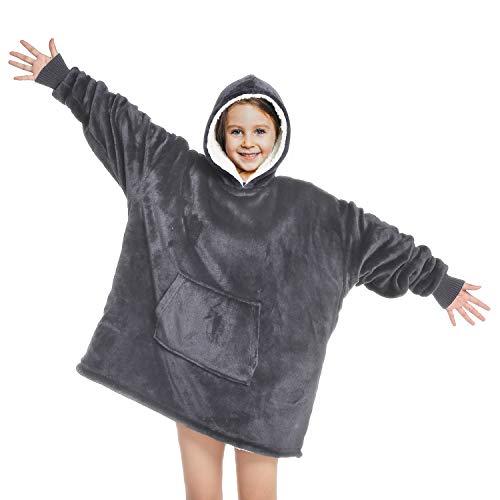 Touchat Wearable Blanket Hoodie, Oversized Sherpa Blanket Sweatshirt with Hood Pocket and Sleeves,...