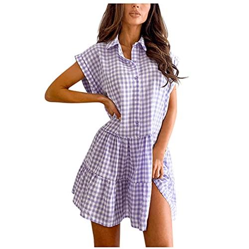 DRESSES Mini camisa con volantes para mujer con estampado de cuadros vintage y cuello de vuelta, vestido de talla grande