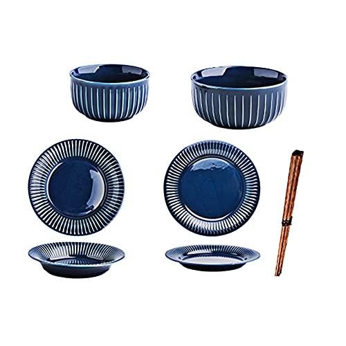 ZCZZ Juego de Cubiertos Juego de Platos de cerámica duraderos, Platos, Cuencos, Palillos, Azul, vajilla Japonesa combinada para Uso doméstico (Servicio para 7 Personas)