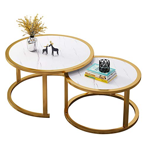 Round Nesting Coffee Tables Set of 2, End Tables for Living Room, Modern Side Sofa Table with Metal Frame for Small Space