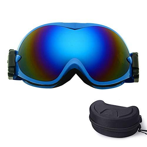 ZXLIFE@@ snowboardbrillen voor mannen en vrouwen, skibrillen met OTG-design, alle helmcompatibele brillen, anti-condens en UV-bescherming blauw