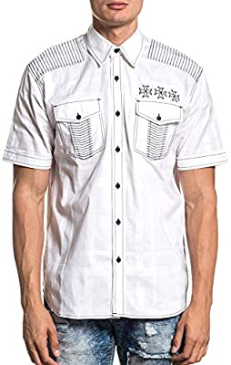 Affliction Resolution Short Sleeve Fashion Woven Button Down Shirt For Men