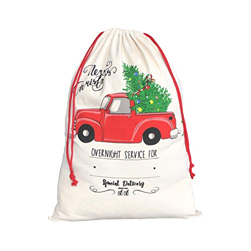 MONOBLANKS Canvas Christmas Santa Sack, Bag Santa Bag with Drawstring Personalized Best Gifts Bags for Home Familys (Truck)