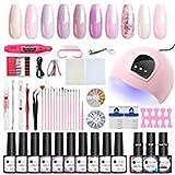 Set de manicura y pedicura de 20 piezas, gel UV para principiantes, manicura y pedicura, incluye lámpara de manicura