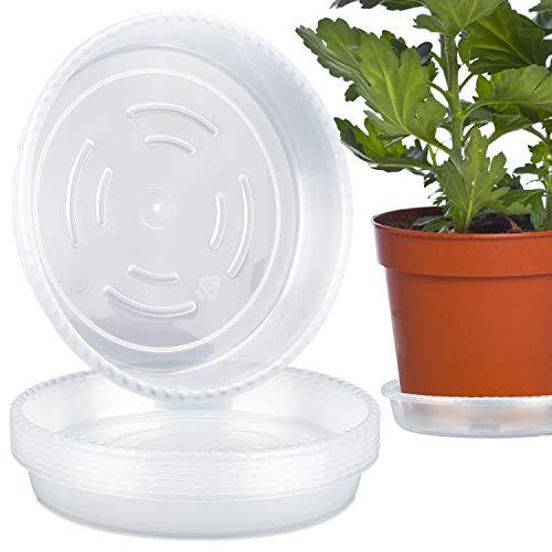 LOVEXIU Vassoio Plastica Sottovasi 6PCS,Sottovaso Rotondo,Pallet in Plastica,Plant Saucers,Sottobicchieri Trasparenti, per Giardino Interno Ed Esterno (21cm)