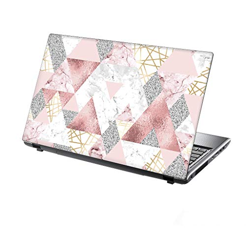 TaylorHe 15.6 inch 15 inch (38cm x 25.5cm) Laptop Skin Vinyl Decal MADE IN BRITAIN Pink Glitters Marble Metal