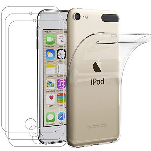 iVoler Custodia Cover per Apple iPod Touch 7 e iPod Touch 6 (7ᵃ e 6ᵃ Generazione) con 3 Pezzi Pellicola Vetro Temperato, Ultra Sottile Morbido TPU Trasparente Silicone Antiurto Protettiva Case