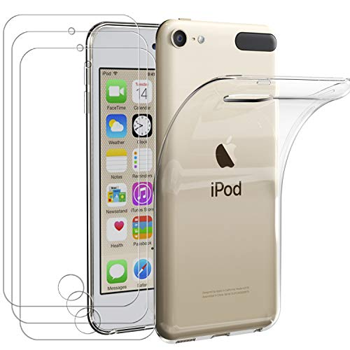 ivoler Funda para Apple iPod Touch 7/6 / 5 (7th, 6th y 5th Generación) + [3 Unidades] Cristal Templado, Transparente TPU Silicona [Carcasa + Vidrio Templado] Ultra Fina Protector de Pantalla y Caso