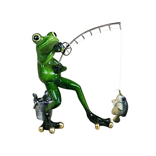 SHENSHI Room Decor Ornaments,Fishing Frog Figurine Resin Frog Angler Miniature Garden Animal Outdoor Hobby Souvenir Craft Novelty Decor Ornament Accessories,Style B,One Size