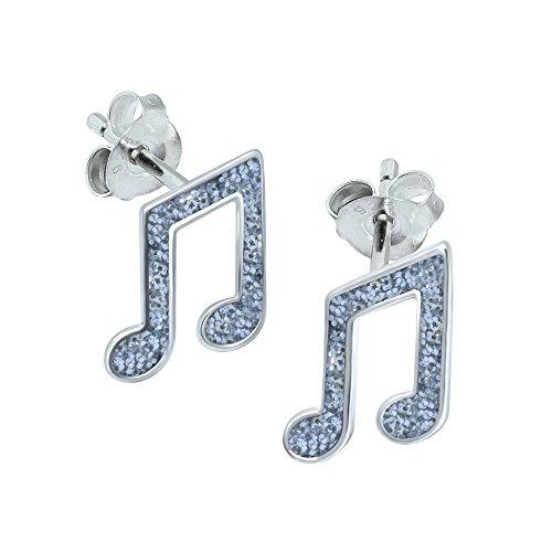 Orecchini, a forma di nota musicale, in argento Sterling, glitterati