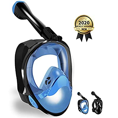 LBHMEI Full Face Snorkel Mask Latest Snorkeling Mask with Upgraded Safety Breathing System, 180° Panoramic Anti-Leak & Anti-Fog, Snorkel Set with Detachable Camera Mount for Adults&Kids (Blue L/XL)