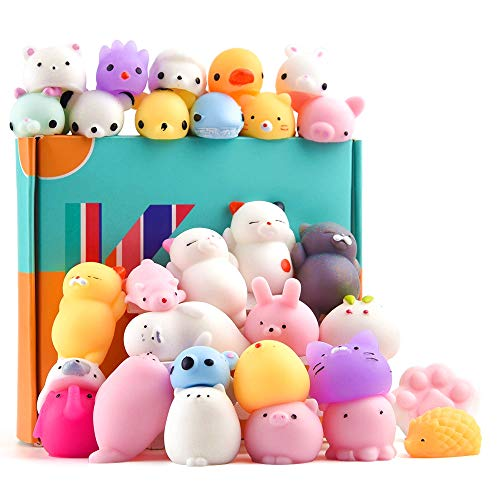KUUQA 30Pcs Animal Squishies Toys Kawaii Squishy Panda Cat Paw Cute Mini Soft Squeeze Stress Reliever Balls Easter Egg Fillers Toys for Kids Birthday Party Favors