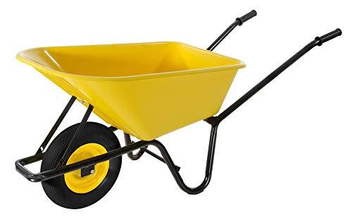 VERDELOOK Carriola in Metallo Nero con Vasca in PVC Giallo, Portata 100 kg, per Trasporto Merce, Fai da Te e Giardinaggio