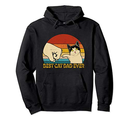 Vintage Best Cat Dad Ever Fauststoß Katzenpapa Vatertag Pullover Hoodie