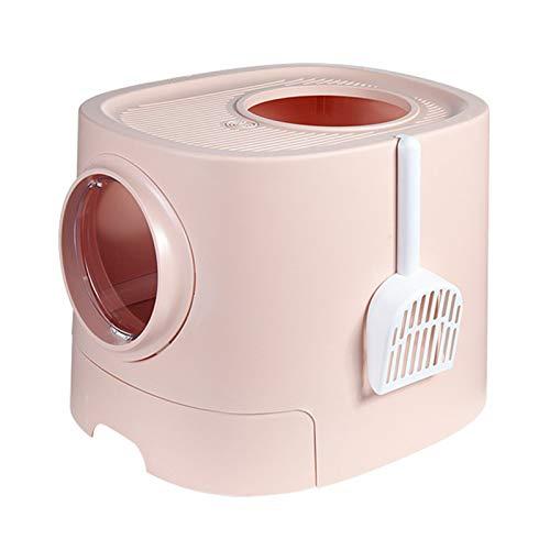 BSTL Caja De Arena para Gatos Tipo Cajón, Inodoro para Gatos con Entrada Superior Cerrada, Caja De Arena para Gatos a Prueba De Salpicaduras y Fácil De Limpiar, L510 * D445 * H400mm,Pink