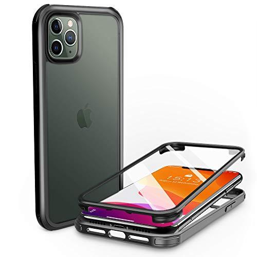 PHONEAURA Carcasa de cristal para iPhone 11 Pro Max (protección completa, protección completa, doble cara), color negro