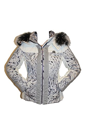 Sportalm Kitzbühel Damen Skijacke Jacke Bel mit Echtfell Größe 40 L Weiß Grau