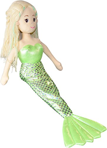Stoffpuppe Meerjungfrau mit Glitzer Flosse, Plüsch Puppe grün ca.90cm 751-21