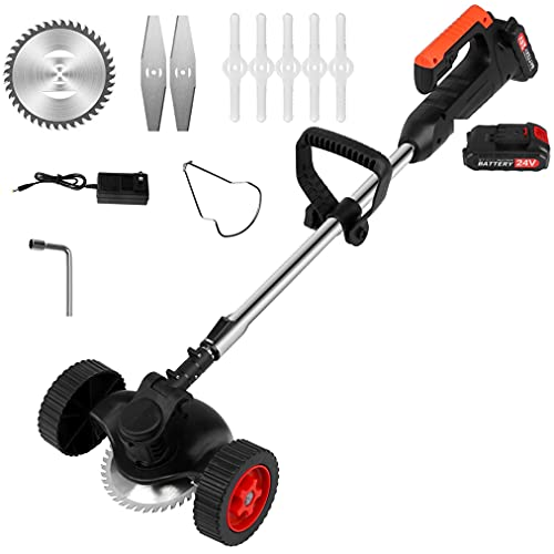 Cordless String Trimmer Weed Eater 24V 650W Lawn Mower with Cutting Blade 6000mAh Battery Powered Electric Grass Trimmer Adjustable Head and Height (Weed Eater with Wheels,2 Battery)