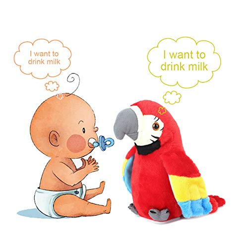 Hztyyier Electric Plush Bird Kids Talking Parrot Repite lo Que Dices Cartoon Cute Recording Early Education Toy(Rojo)
