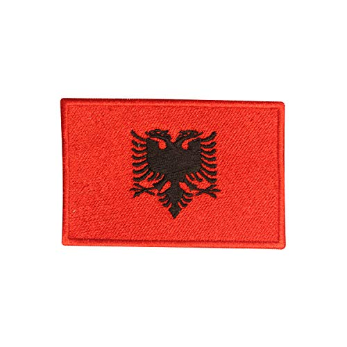 Aufnäher mit Albanien-Nationalflagge zum Aufbügeln oder Aufnähen, bestickt, Länderabzeichen