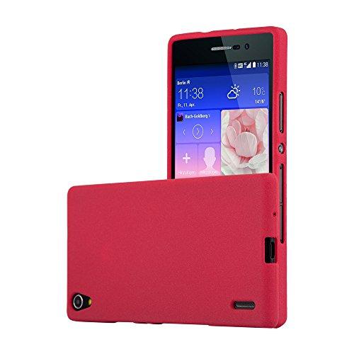 Cadorabo Funda para Huawei P7 en Frost Rojo - Cubierta Proteccíon de Silicona TPU Delgada e Flexible con Antichoque - Gel Case Cover Carcasa Ligera