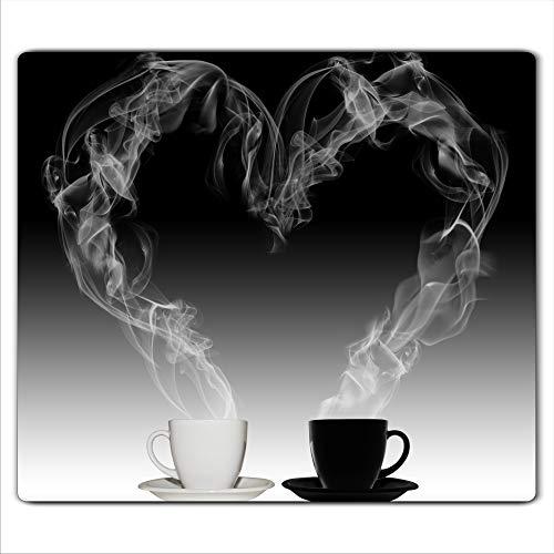 FTB Gsmarkt | Herdabdeckplatte Schneidebrett Spritzschutz 60x52 | Bild auf Glas | Sicherheitsglas Gehärtetes Glas Bild | Motiv Kaffee