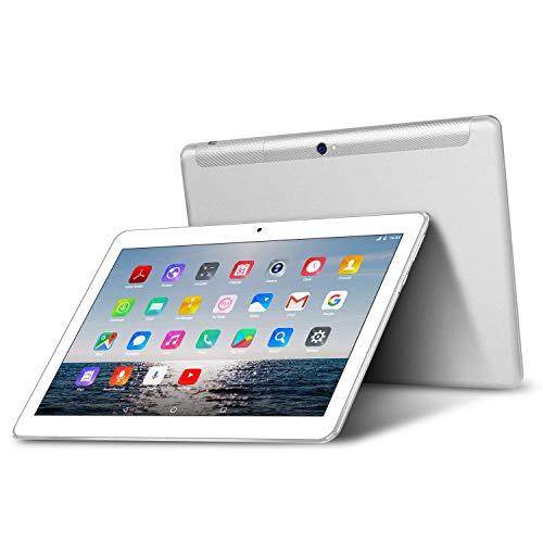 Tablet 10.1 Zoll 4G LTE Dual SIM - TOSCIDO Android 9.0 Zertifiziert von Google GMS,Quad Core,64GM eMMC,4GB RAM,Doppelt Lautsprecher Stereo,WiFi/Bluetooth/GPS,Inklusive Deutscher Anweisungen - Silber