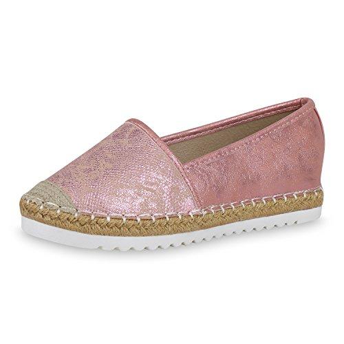 SCARPE VITA Damen Espadrilles Metallic Slipper Bast Profilsohle Flats Schuhe 163790 Pink Metallic 41