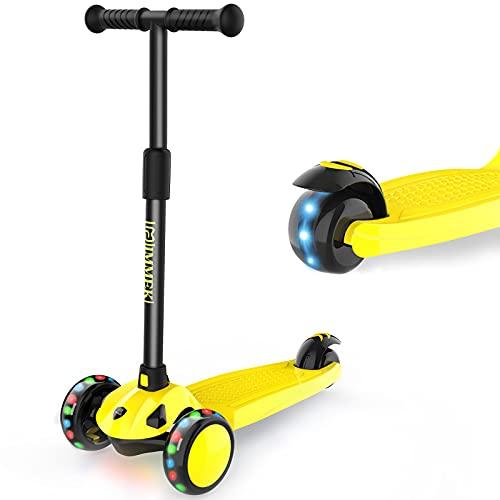 IMMEK Kinderroller 3 Räder für Kinder Roller ab 2-8 Jahre Kleinkinder Scooter für Jungen und Mädchen mit 3 PU LED Räders, Höheverstellbare Lenker und Maximale 50 KG (Gelb)