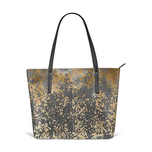 XGBags Custom Borse a spalla da donna Modern Gold Look Leather Zipper Tote, Ladies Shoulder Bag, Shoulder Bag