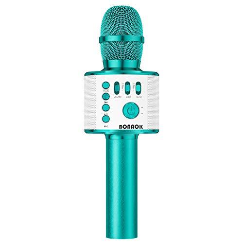 BONAOK Karaoke Microphone Bluetooth Wireless, Portable Karaoke Machine Mic Speaker for Kids and Adults Home Party Birthday(Ice Blue)
