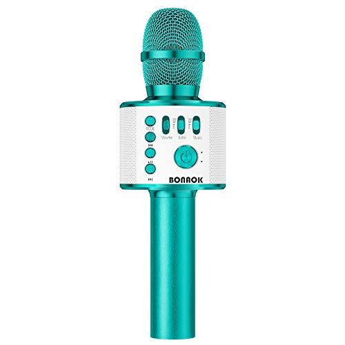 BONAOK Karaoke Microphone Bluetooth Wireless, Portable Karaoke Machine Mic Speaker for Kids and Adults Home Party Birthday(Ice Blue)