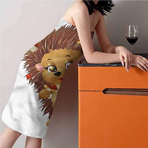 "ScottDecor Hedgehog Best Bath Towels Large,Thin and Light Beach Towels Mushroom Eating Food 24"" W x 50"" L"