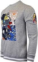 SCREENSHOT-F11058 Mens Urban Hip Hop Premium Fleece - Shark Cartoon Character Gel Print Street Fashion Crew Neack Sweatshirt-H.Grey-3XLarge