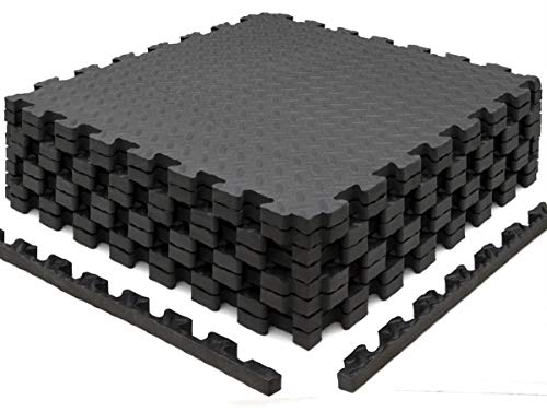 EYEPOWER 8 Bodenschutzmatten 63x63 2cm Fitness Bodenmatte - 3,2qm Schutzmatten Set mit Rand