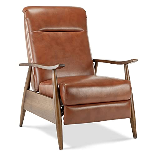 Comfort Pointe Solaris Caramel Faux Leather Wooden Arm Push Back Recliner Chair