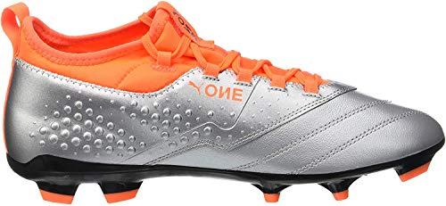 Puma Herren ONE 3 LTH FG Fußballschuhe, Silber Silver-Shocking Orange Black 01, 39 EU