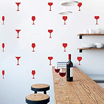 Set of 25 Vinyl Wall Art Decal - Wine Glass Set - from 6  x 2  Each - Trendy Adhesive Sticker Wine Glasses for Home Bar Bedroom Kitchen Living Room Office Dinner Room Store Decor  Red